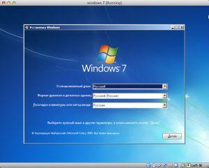 Начало установки Windows на mac